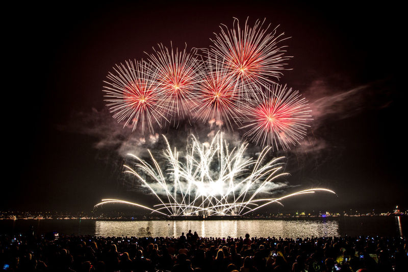 Arts Culture And Entertainment Celebration Crowd Emotion Enjoyment Event Excitement Exploding Firework Firework - Man Made Object Firework Display Group Of People Illuminated Light Motion Nature New Year's Eve Night Nightlife Outdoors People Sky Sparks Spectator Watching