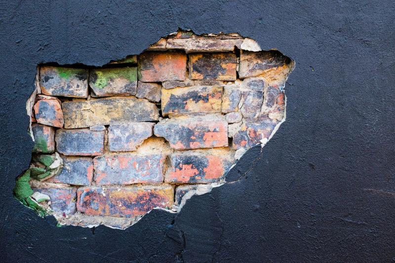 Wall surprise in Deep Ellum, Dallas Ancient Bricks Close-up Cracked Dallas Tx Day Decay Deep Ellum No People Outdoors Sky Textured  Urban Geometry Urban Textures Walls
