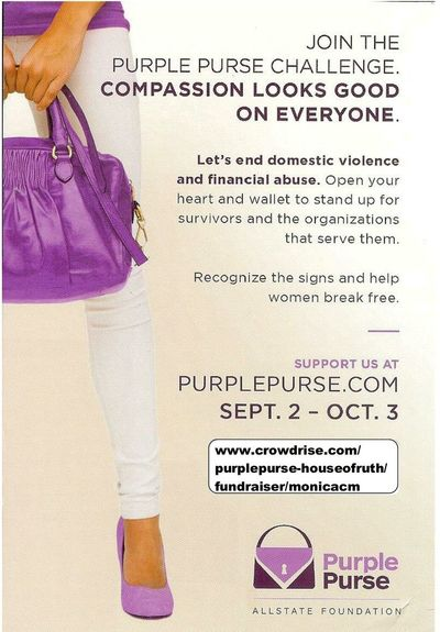 On a serious note...I work for an agency that helps battered women and children. If you'd like to help us improve our counseling, children services and shelter, please visit www.crowdrise.com/purplepurse-houseofruth/fundraiser/monicacm and donate. Any amount will help! HouseOfRuth Domestic Abuse Fundraiser All State purplepursechallenge
