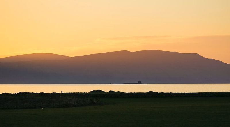 Scotland Submarine Nuclear Beauty In Nature Nature Silhouette Scottish Islands Sunset Coastal Feature Golf Course Canon Tranquility Mountain Outdoors No People Gillian McBain Photographer Sky Landscape Nature_collection Water West Coast Europe Holiday Day Golf Course