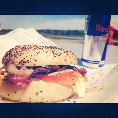 Everythingbagel Overeasyegg Turkeymeat Bacon tomato sammich and a redbull.. breakfastofchamps