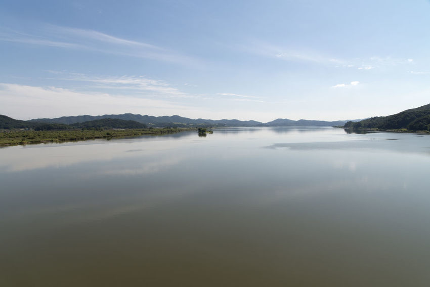 river view at Wungpodaegyo Bridge of Geumgang River in Iksan, Jeonbuk, South Korea Geumgang Geumgang River On The Bridge Beauty In Nature Cloud - Sky Day Idyllic Lake Landscape Mountain Nature No People Outdoors Reflection River Scenics Sky Tranquil Scene Tranquility Water