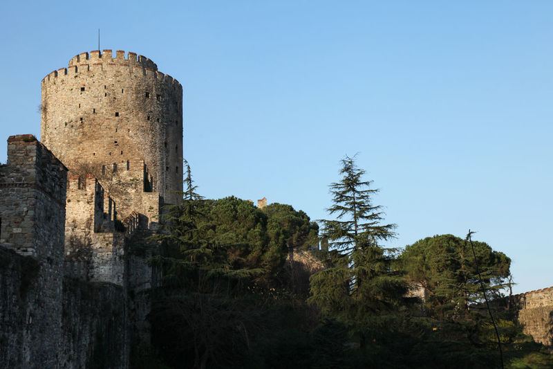 towers of the historic 15th century fortress of Rumeli Hisar on the Bosphorus 15th Century Architecture Building Castle Day Fort Fortress History Istanbul No People Old Ottoman Outdoors Rumeli Hisari Castle Rumeli Hisarı Tower Turkey Walls