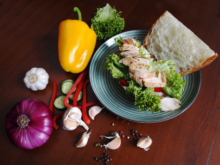 Sandwich with chicken fillet, vegetables and white bread Sandwich Chicken Fillet Close-up Day Food Food And Drink Freshness Healthy Eating Indoors  No People Plate Ready-to-eat Rice - Food Staple Table Vegetable White Bread
