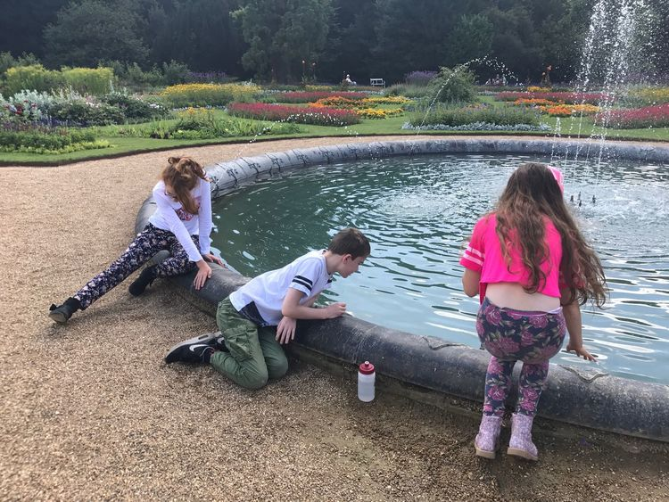 Child Girls Females Full Length Childhood Togetherness Water Daughter Day People Males  Nature Outdoors Real People Fountain Garden Audley End Essex Connected By Travel