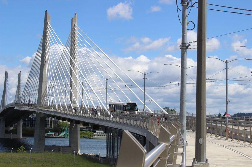 EyeEm Selects Bridge - Man Made Structure Connection Architecture Built Structure Transportation Bridge Day Outdoors Sky Cloud - Sky City No People Modern Tillikum Bridge Portland Portland, OR