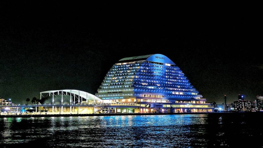 Night Architecture Built Structure Illuminated Water Building Exterior Waterfront Travel Destinations Modern River Travel Arts Culture And Entertainment Sky Outdoors No People Clear Sky City Futuristic Nature メリケンパーク Kobe In Japan