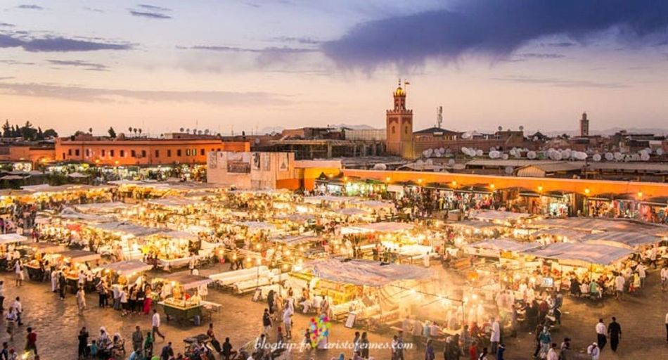 Trip Photo Vacation Morocco Marrakech Morocco Marrakech Jamaa El Fna Congregation Souk Plaza Dask TOWNSCAPE Town Square Street Photography Close-up Plaza Close Up Mosque Koutoubia