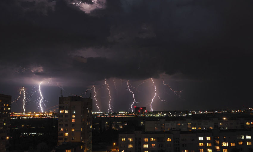 Thunderclouds Thunderstorms Architecture Built Structure Cityscape Illuminated Lightning Natural Electricity Night No People Outdoors Power Powerful Nature Sky Storm Storm Cloud Thunderstorm