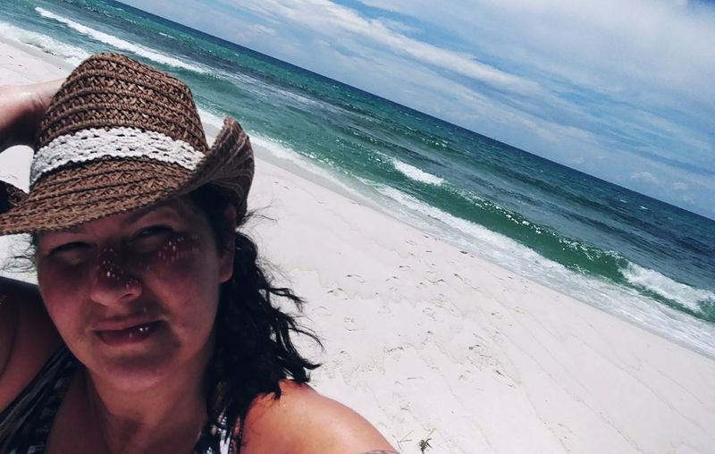 Beach Time Beach Life Florida Gulf Coast Navarre Beach Nofilter Cowboy Hat Country Girl On The Beach EyeEm Selects Water Young Women Sea Portrait Beach Beautiful Woman Smiling Headshot Women Sand Sunbathing Surf Wave Coast