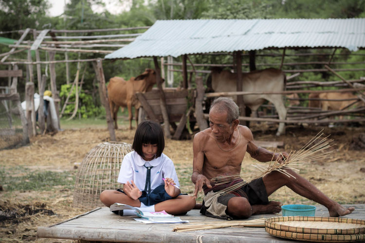 Girl With Grandfather Studying On Field
