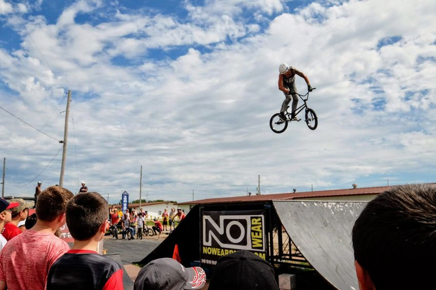 Nowear BMX Team Nebraska State Fair September 1, 2018 Grand Island, Nebraska Camera Work Check This Out Composition Event EyeEm Best Shots FUJIFILM X-T1 Fujinon 10-24mm F4 Getty Images Grand Island, Nebraska Nebraska State Fair NowearBMX Photojournalism Stunt Action Bicycle Biker Bmx  Cloud - Sky Communication Crowd Day Extreme Sports Eye For Photography Eyeforphotography Freestyle Group Of People Leisure Activity Lifestyles Men Mode Of Transportation Nature Outdoors People Real People RISK S.ramos September 2018 Skill  Sky Spectator Sport Stunt Transportation Tricks Watching
