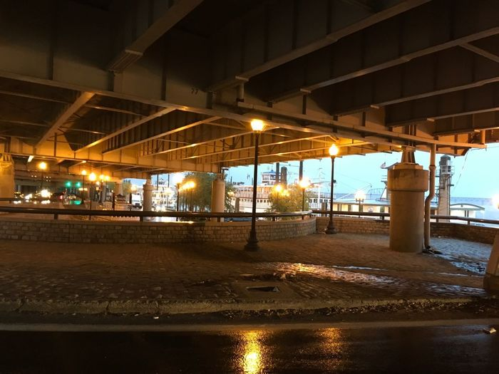 Under the Bridge water view Rainy Day Raining Illuminated Architecture Built Structure Night No People Building Exterior Lighting Equipment Road Architectural Column Street Transportation Glowing Reflection Wet Ceiling Outdoors City Building Water