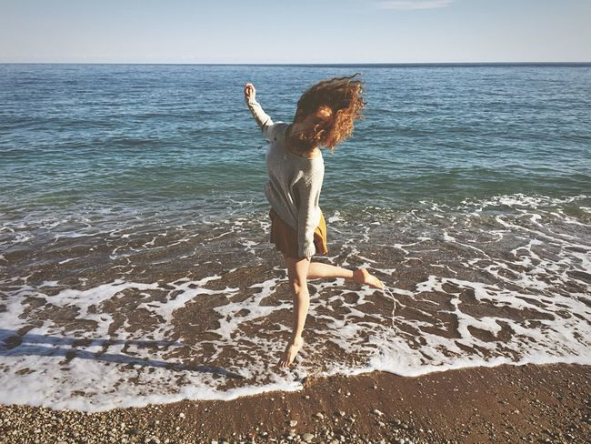 Having fun at Çıralı beach where my girlfriend grew up || spent a lot of time editing this shot in EyeEm, feel free to try the open edit:) Use sunny shots with rather bright than too dark background Girl Jump Beach Beachphotography Life Is A Beach Sea Sea And Sky Happy Capture The Moment