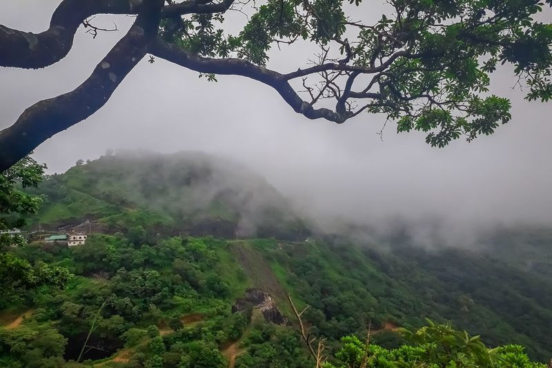 Scenic view of landscape against sky during rainy season