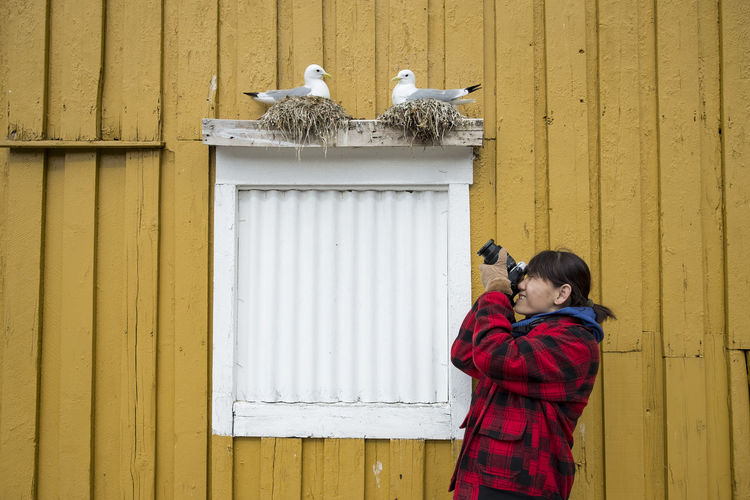 Woman photographing birds in nest over window