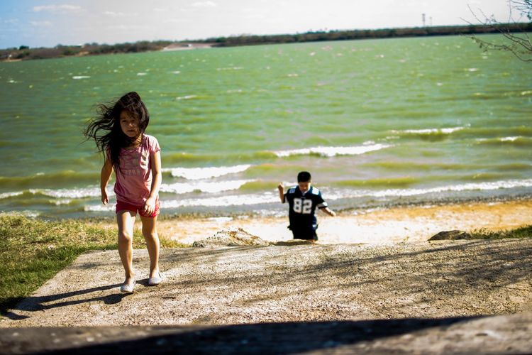 A day at the lake-very windy. Lake Windy Water Kids