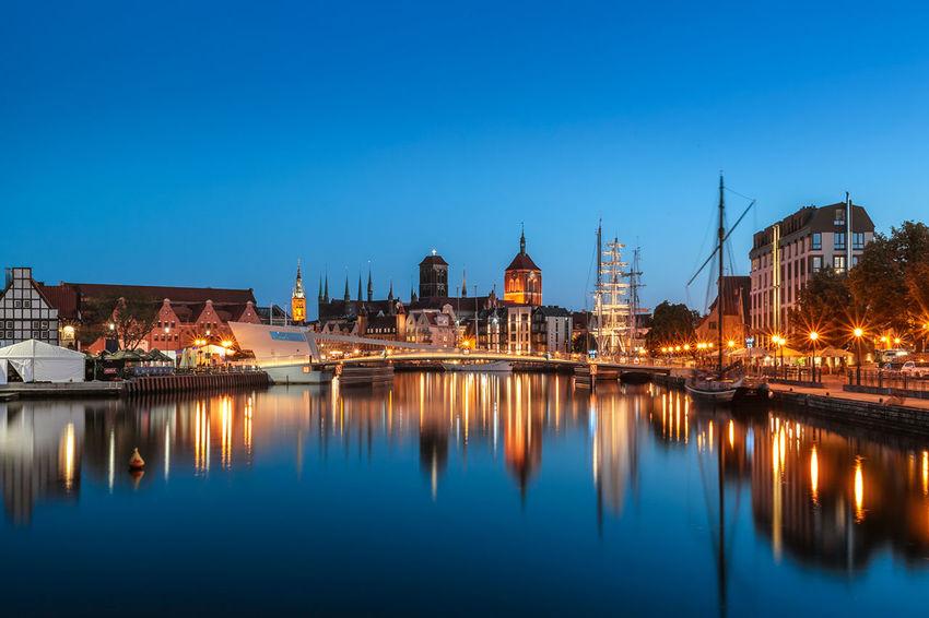 Illuminated Architecture Sky Long Exposure Gdansk Kozjar Lights In The Dark Reflections Motława City