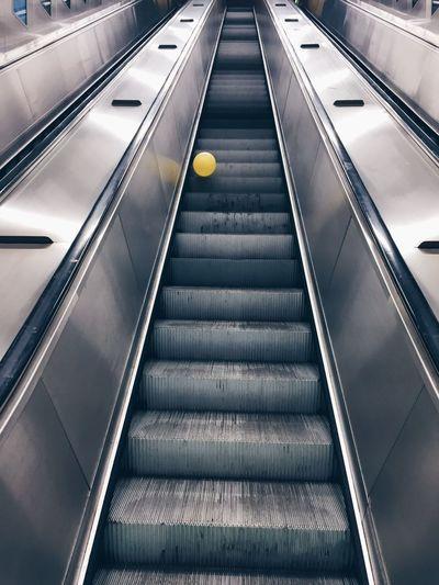Low angle view of escalator