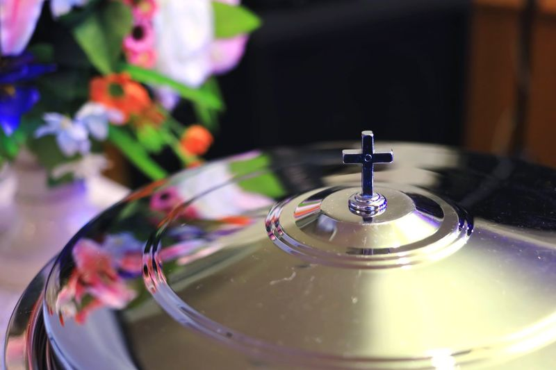 Close-up of water drop on table
