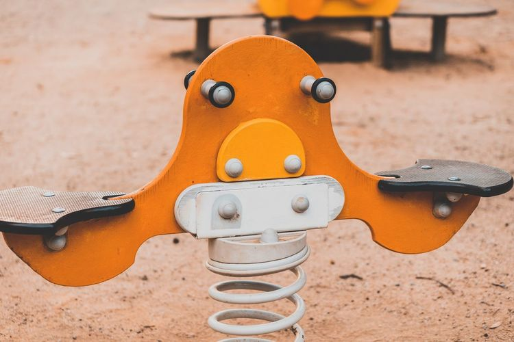 Close-up of toy on playground