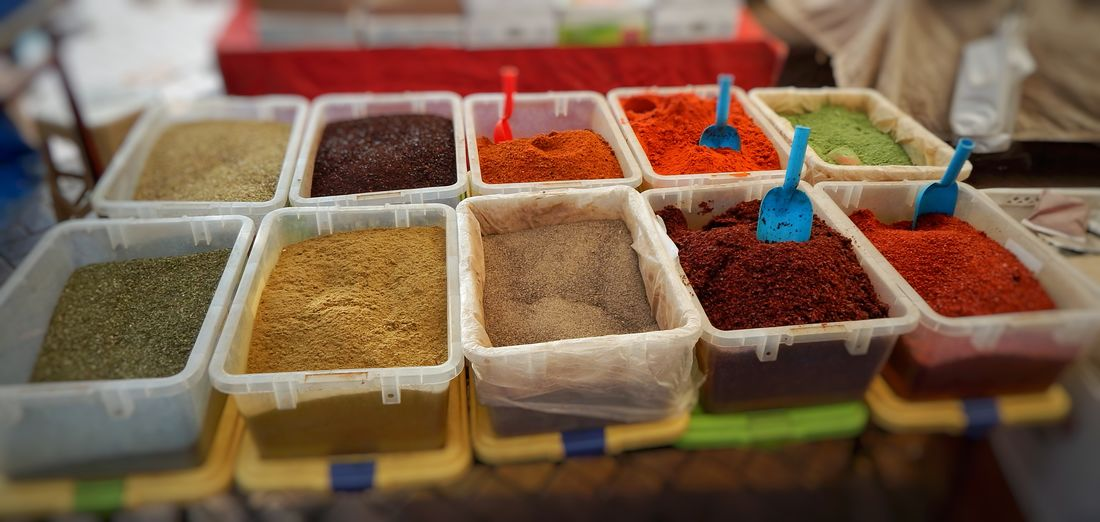 High angle view of spices for sale in store