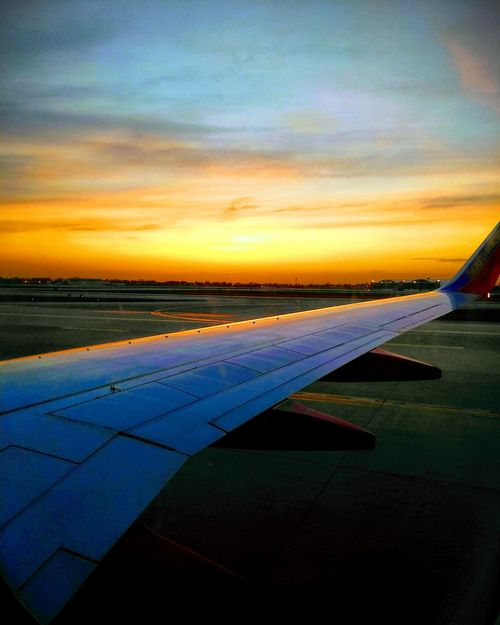 Sunset Chicago Chicago Sunset Sky Sky And Clouds Water Sunset Sea Airplane Business Finance And Industry Sky Cloud - Sky Horizon Over Water Aircraft Wing Runway Flying Flight Aircraft Airplane Wing Airport Runway Commercial Airplane Plane