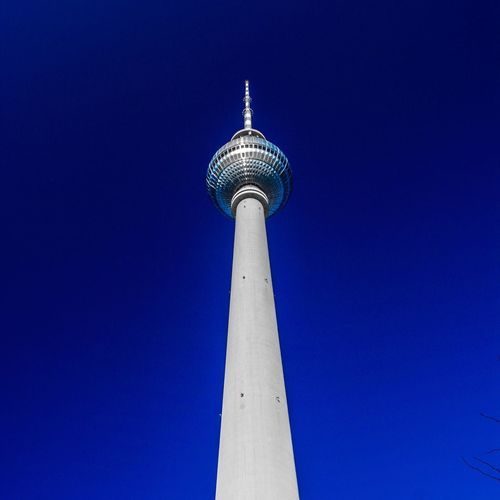 Low Angle View Blue Tall - High Architecture Sky Clear Sky Sphere Built Structure Building Exterior Communication Tower