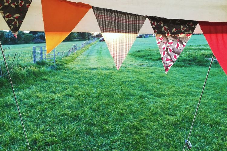 Bunting Sunset Tent Field Pattern Pattern, Texture, Shape And Form Fabric Textile Tailored To You Festival Season