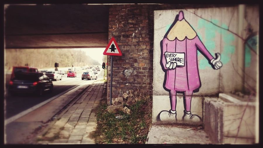 Colour The Greyness Streetart/graffiti Pencil Brussels Going Everywhere!:) Hitchhiking