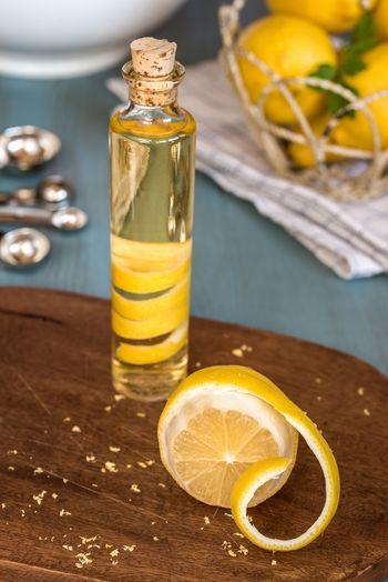 Homemade lemon extract made by infusing lemon peel in vodka Citrus  Lemon Peel Homemade Infuse Infusing Vodka Organic