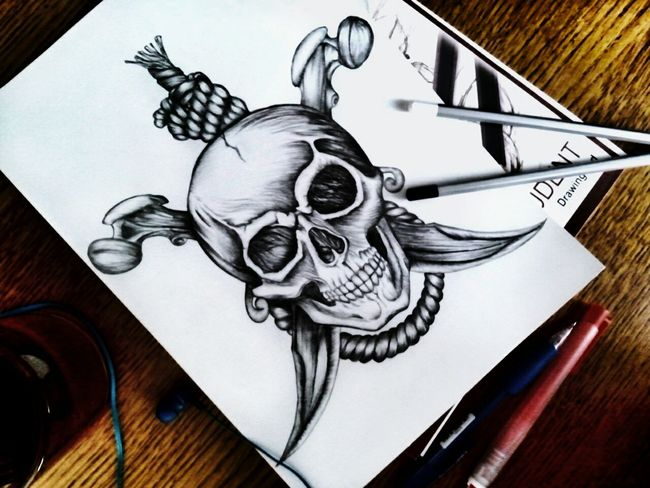 Warsaw Poland Black And White Notebook Tattoos Sketch Drawing - Art Product Skulls💀