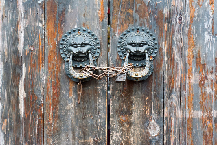 chinese old door City Backgrounds Chiense Door Chinese Door Knocker Close-up Closed Day Deterioration Door Door Knocker Entrance Full Frame Latch Lock Metal No People Old Protection Rusty Safety Security Textured  Weathered Wood Wood - Material