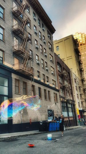 Of Bubbles... Bubbles...Bubbles....and Hats In The Alleys of San Francisco Multi Colored Building Exterior Outdoors Building Artwork Cityphotography Travel Destinations Bubbles Balloons California Dreamin Stories From The City Visual Creativity