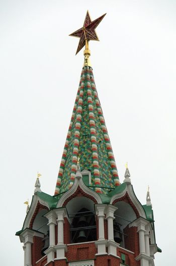 Spasskaya tower of Moscow Kremlin Ancient History Kremlin Architecture Russia Rooftop Ancient Architecture Architecture Bells Building Exterior Built Structure Clear Sky Columns And Pillars Day Flags Geometrical Patterns Lancet Arch Low Angle View No People Outdoors Sky Spirituality Star Tower