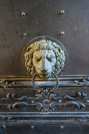 Lion head door knocker Blue Close-up Creativity Door Door Knocker Full Frame Lion Head No People Water