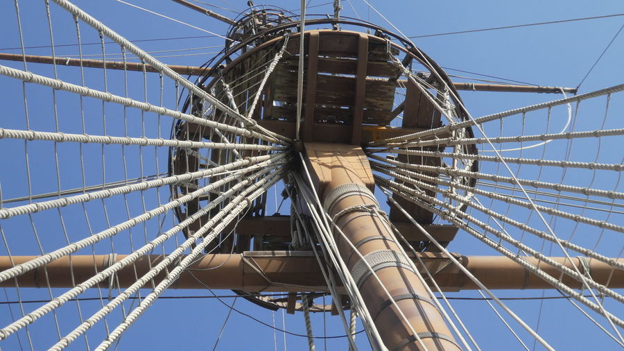 Low angle view of rigging and mast of vintage sailing ship