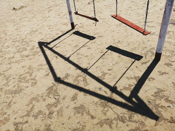 Cradle  Attraction Close Up Color Shadow Sand Sunlight High Angle View Beach Focus On Shadow Long Shadow - Shadow Swing Playground
