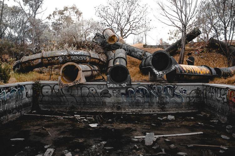 Old abandoned railroad tracks