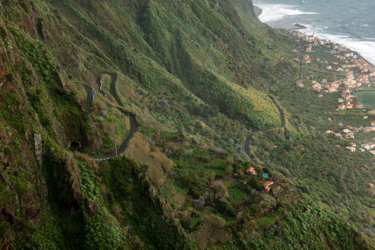 Aerial view of Paul do Mar from Faja da Ovelha in Madeira Madeira Portugal Island Ilha Travel Landscape Nature Mountain Fajã Da Ovelha Portuguese Outdoors Road Panorama Panoramic Aerial View Aerial Seascape Sea Atlantic Ocean View Best  Epic Paul Do Mar Coastline