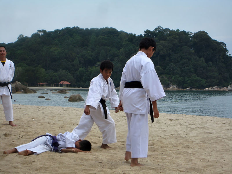 a group of school children are practicing karate on the beach Boy Girls Group Instructor Karate Kids Martial Arts Practice Student Trening