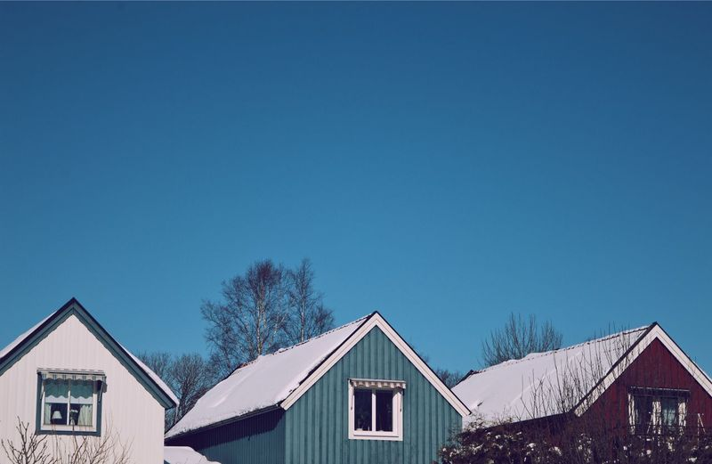 Houses and trees against clear sky during winter
