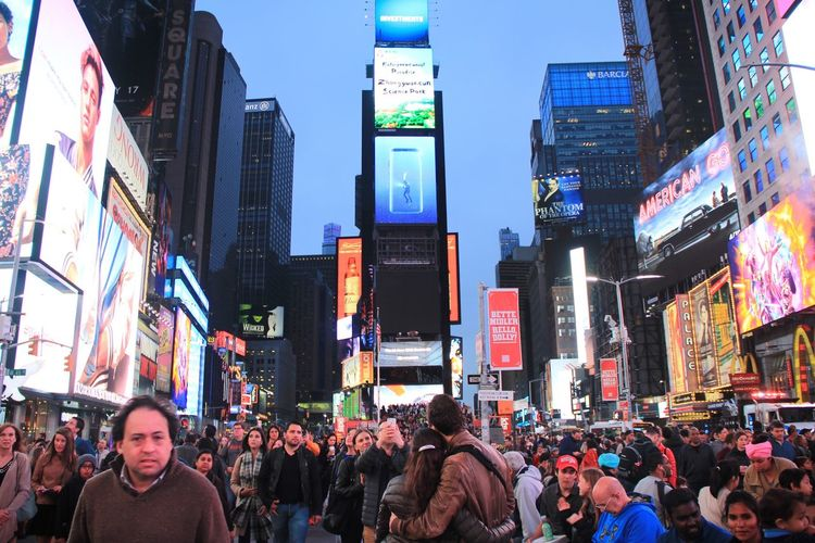 New York City Large Group Of People Crowd New York TimesSquare