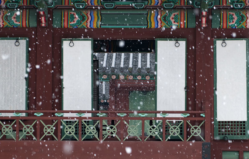 Snowing scene of korean palace