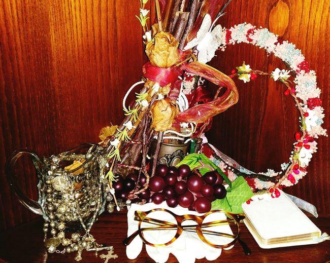 Glasses Gloves Book Grapes Cross Flowers Close-up Old Crown Crown Flower Vintage Color