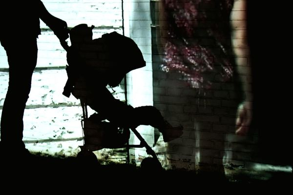 Silhouette Adult Shadow Man Buggy Woman Seperated Art Child