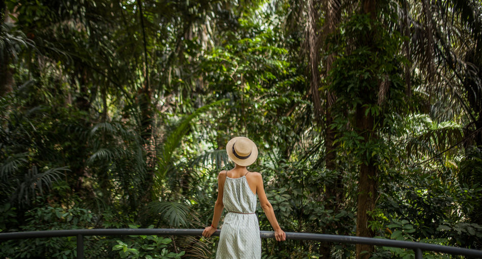 Jungle Background Beauty In Nature Day Girl Jungle Nature One Person Outdoors People Rear View Standing Tree Young Adult Fresh On Market 2017