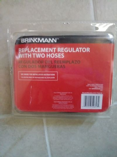 Brinkmanns Replacement Regulator with 2 Hoses (BBQ Grill) Briinkmann Regulator Hoses BBQ Replacement Parts Hoses Red Accidents And Disasters Communication Text Close-up