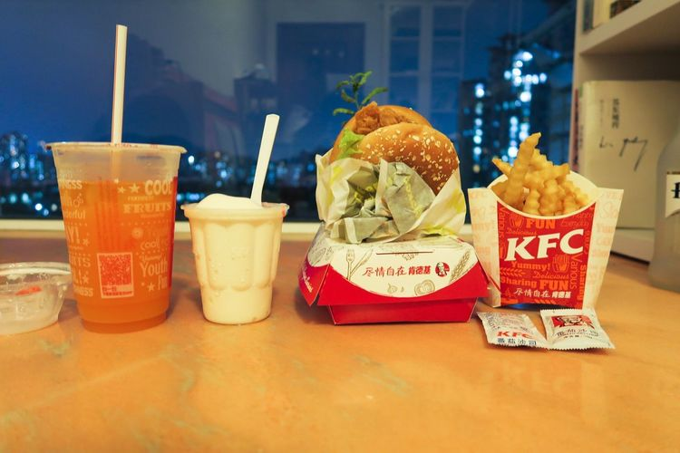 Group Photo of KFC Humberger Dinner Time Food Food And Drink Hungry Delicious Bay Window Window Window View Night Lights From My Window Still Life