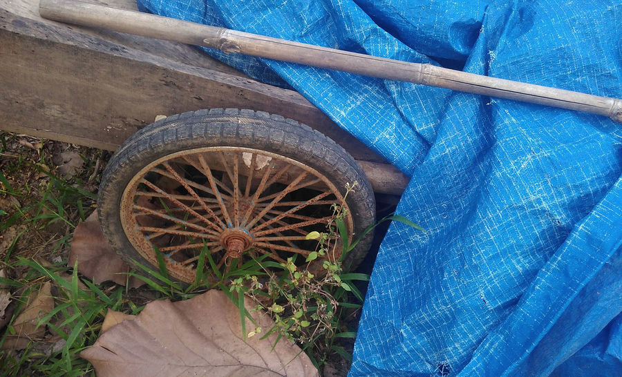 The Old Cart Wheel Cart Wheel East Java INDONESIA Java Machine OLd Cart In Field Blue Brick Make Brickman Cart Cover Cart Wheels Close-up Day High Angle View Low Section Machine Part Nature No People Old Cart Old Cart Wheel Outdoors Simple Carbonara Tire Transportation Wheel